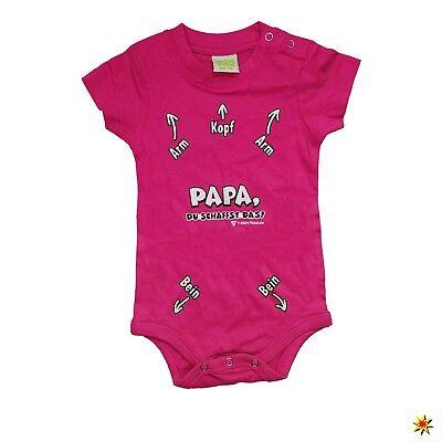 Baby Body Kurzarm mit Spruch Gr. 68/74 pink Geschenk Geschenkidee Neugeborenes B