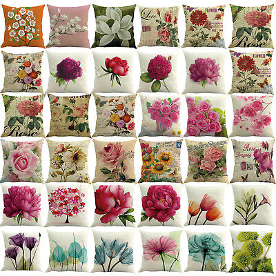 Spring Flower Pillow Case Square Cover Sofa Waist Cushion Covers Home Decor 45cm