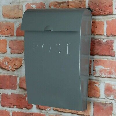 Letter Post box Wall Mounted Outdoor Mail Postbox Lockable Steel Weatherproof