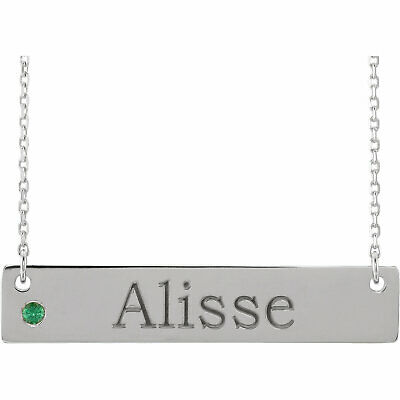 Birthstone Bar Ring Personalized Jewelry - Engravable Personalized Bar Silver Pendant, Name engraved with Birthstone