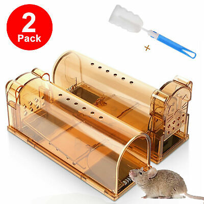 2PCS Reusable Mouse Trap Humane Live Catcher Rat Vermin Rodent Cage Pest No Kill