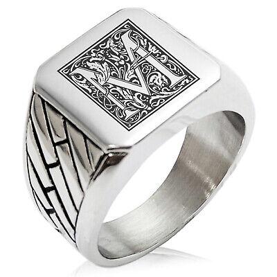Stainless Steel Mens Royal Box Monogram Initial Large Square Biker Signet Ring
