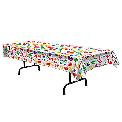 40th Birthday Tableware (40th Celebration Plastic Table Cover - Birthday Tableware - Party)