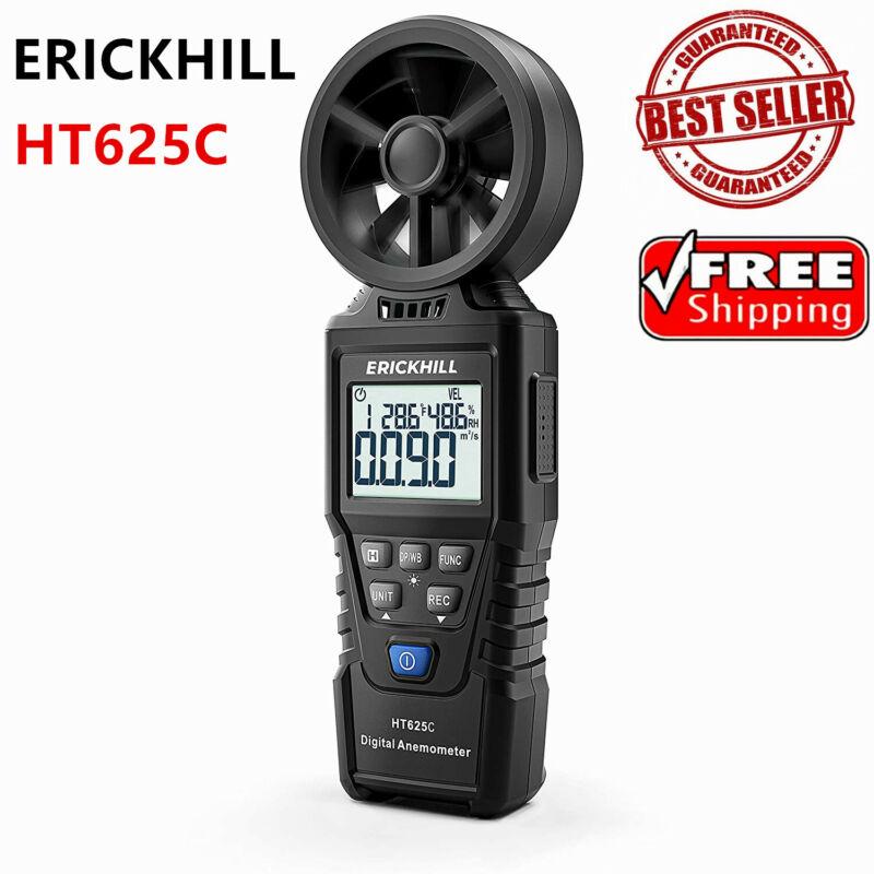 ERICKHILL Anemometer Meter Vane Air Flow Gauge Thermometer Humidity Tester