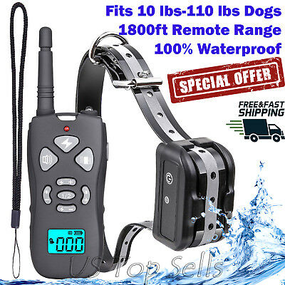 Dog Shock Training Collar Remote Electric Rechargeable Waterproof XS-XL 1800Ft