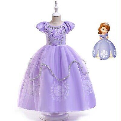Kinder Sofia Kostüm Kleid Prinzessin Tüllkleid Partykleid Verkleidung Kostüm