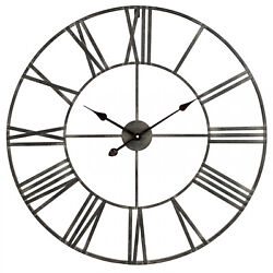 Large Wall Clock 30 Iron Industrial Rustic Attractive Big Metal Distressed Gray