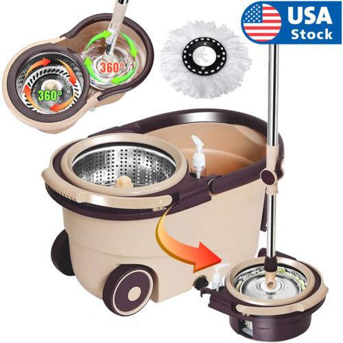 US 360° Rotating Floor Mop Bucket Set wheel with 2 Microfiber Head Cleaning Tool