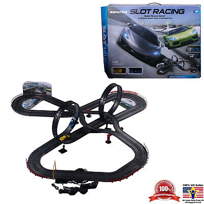 Racing Car Track Set 2 Slot Cars Controllers Loops Turns Racecar Play Fast Game