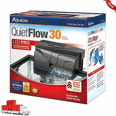 30 GALLON Power Filter Aqueon QuietFlow 200 GPH Fish Tank Aquarium Clean Water