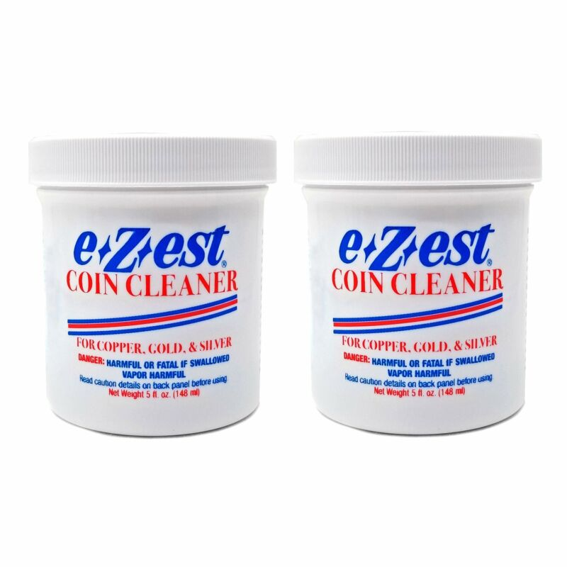 e-Z-est eZest Easy Coin Cleaner Copper Gold Silver Jewelry 5oz Jar 2 pack