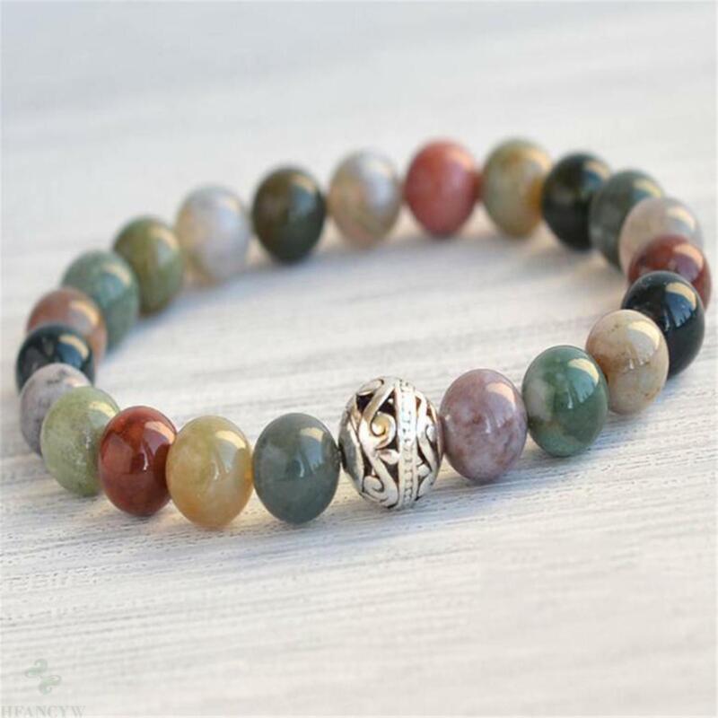 8mm Indian Agate Beads Handmade Mala Bracelet Bangle Chakra Spirituality Tibetan