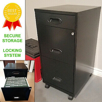 Metal Filing Cabinet With 3 Drawers Rolling Locking File Organizer Safe Storage