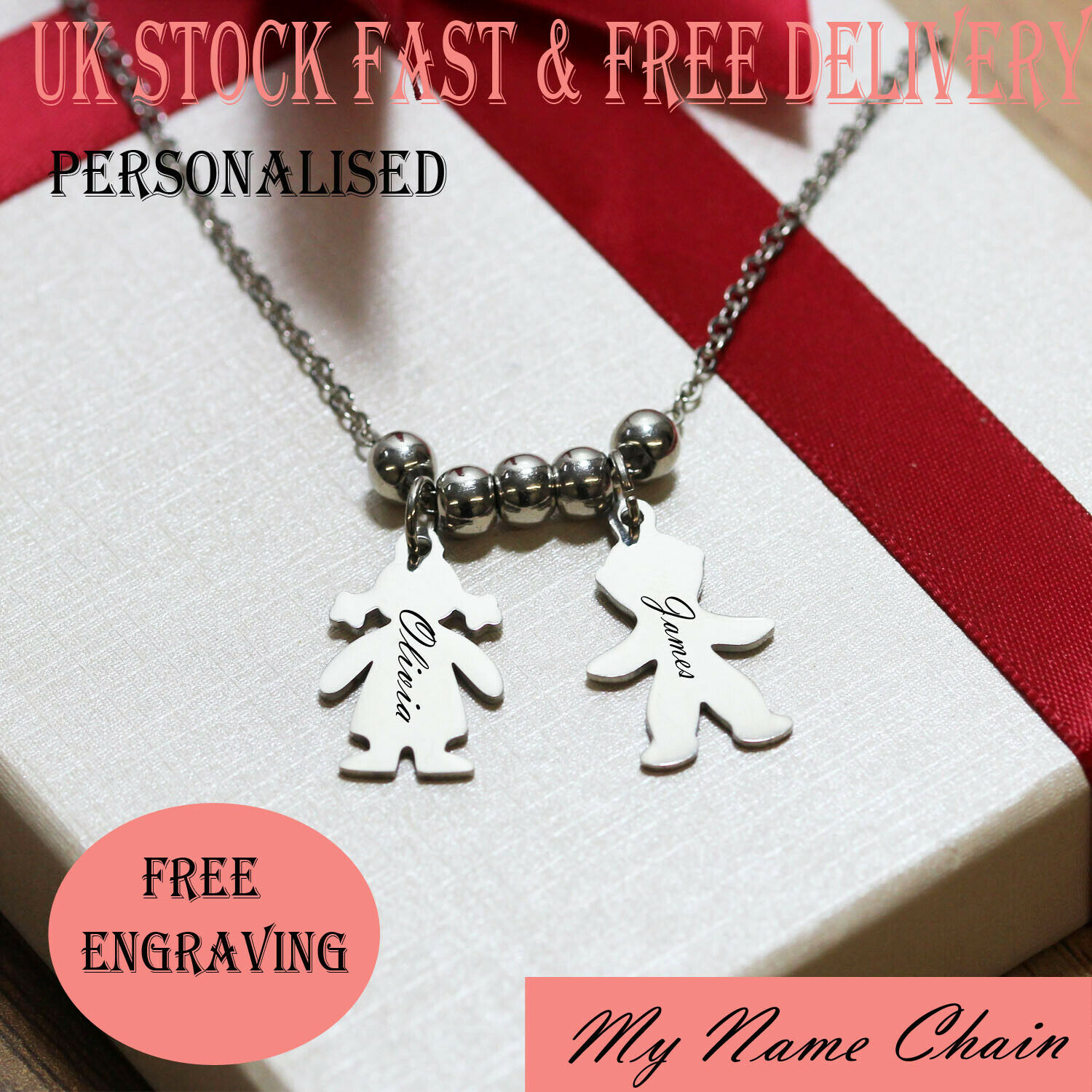 Personalised Children Kids Mother Engraved Name Necklace Silver Jewellery  Gift | eBay
