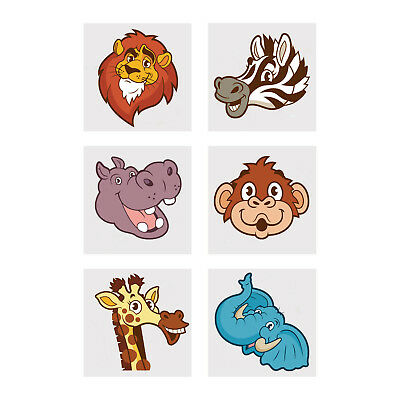 Safari Tattoo (72 ZOO Animal TATTOOS Loot birthday Party Favor Bags SAFARI zebra monkey)
