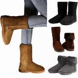 Winter Boots Women's Faux Fur Suede Mid Calf Warm Snow Fashion Plush 4 Colors