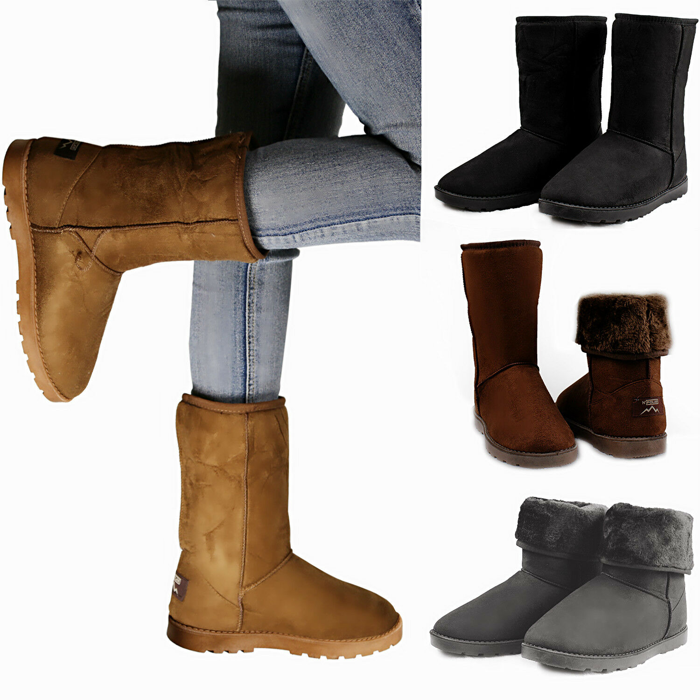 Boots - Winter Boots Women's Faux Fur Suede Mid Calf Warm Snow Fashion Plush 4 Colors
