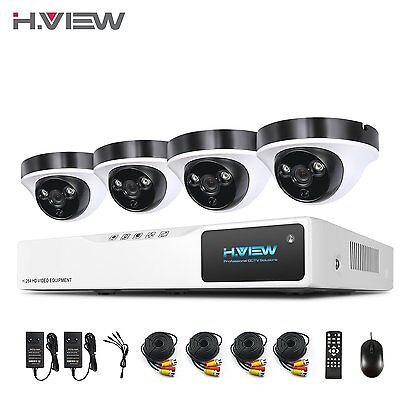 H.View Überwachungssystem 8CH 1080N DVR Videoüberwachung 4x 2.0MP Außen Kamera