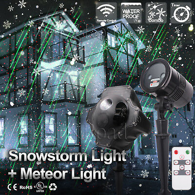Green Falling Star - Xmas Meteor Star Shower Motion Laser Projector & Snow Falling LED Moving Laser