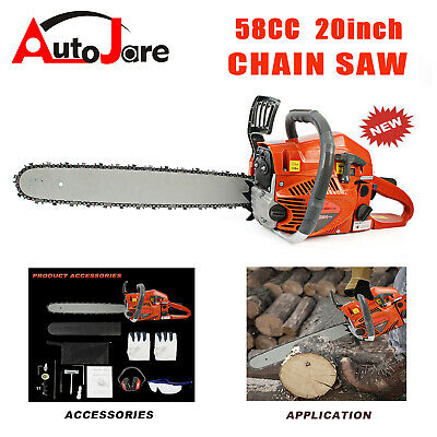 """58cc Gas Chainsaw 20"""" Handheld Household Logging Gasoline Powered 2 cycle 2 Cycle Gas Chainsaw"""