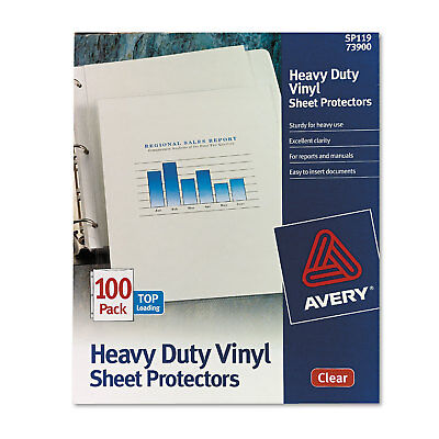 Avery Top-load Vinyl Sheet Protectors Heavy Gauge Letter Clear 100box 73900