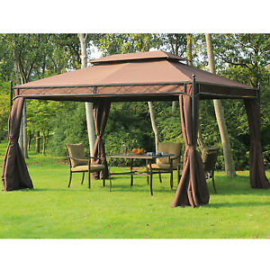 3m x 4m Garden Metal Gazebo Marquee Sidewalls Tent Patio Canopy Shelter Pavilion