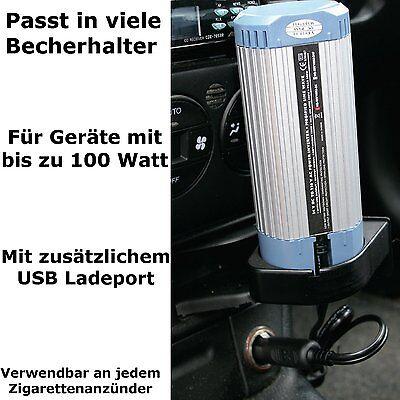 Wechselrichter + USB-Port 12V 230V 100W KFZ Zigarettena… |