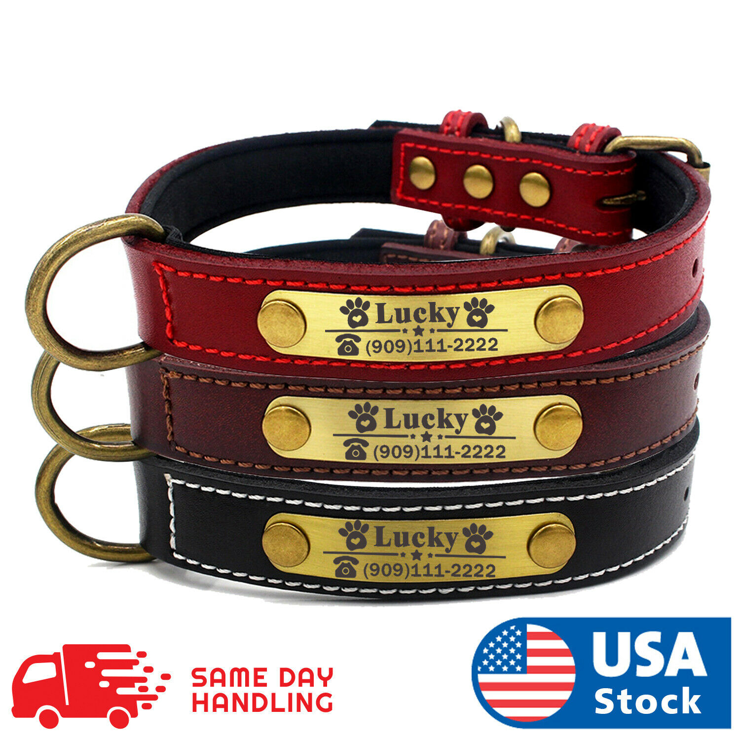 Custom Dog collar leather personalized Brass Name Plate  small medium large dog Collars