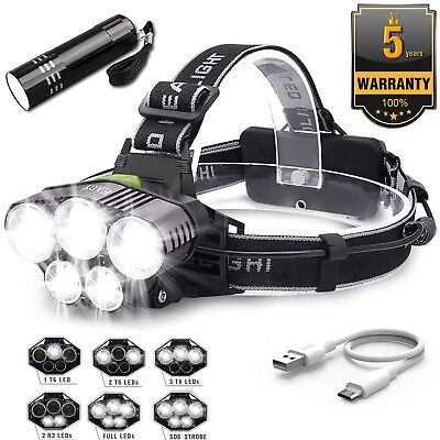 Super-bright 90000LM T6 LED Headlamp Headlight Torch Rechargeable Flashlight