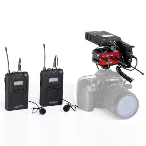 Movo Dual Wireless UHF Lavalier Microphone Bundle w/ Audio M