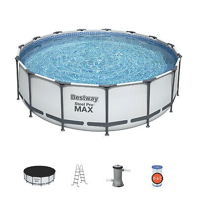 "Bestway 15' x 48"" Steel Pro Max Round Frame Above Ground Swimming Pool w/ Pump"