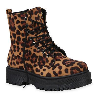 Damen Stiefeletten Plateau Boots Schnürer Leopard Prints Schuhe 832541 Schuhe Leopard Print Schuhe
