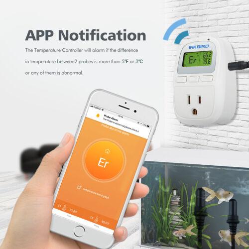 US PLUG Inkbird Digital Thermostat Wifi Aquarium Thermometer C929A Dual Probes