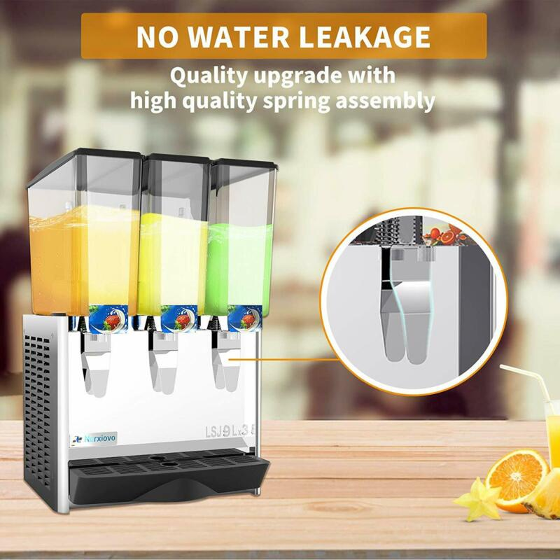 3 Tank Commercial Cold Drink Juice Beverage Dispenser w/ Thermostat Controller
