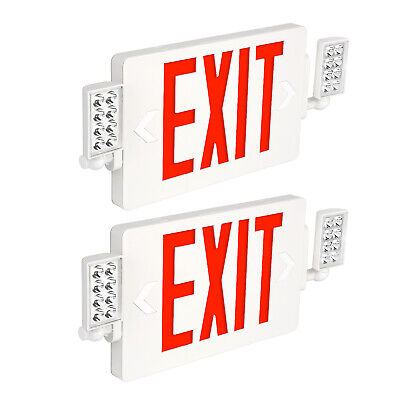 Hykolity Red Led Emergency Exit Light With Two Head And Backup Battery 2 Pack