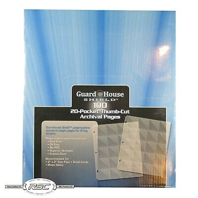 - 100 - Guardhouse Shield 20-Pocket Thumb Cut Archival Polypropylene Pages!