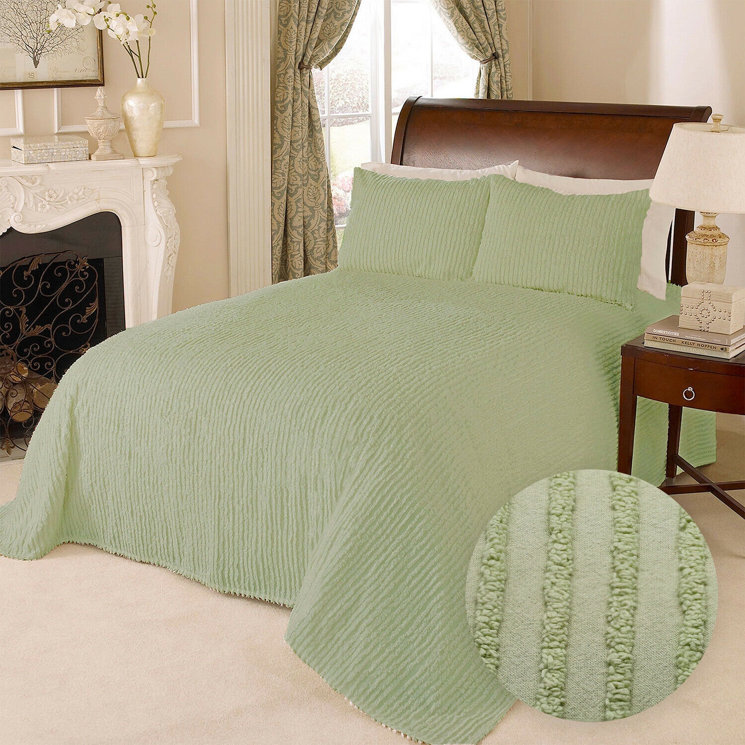 100% Cotton Tufted Chenille Stripe Bedspread Bedding Twin Full Queen King, Green Bedding