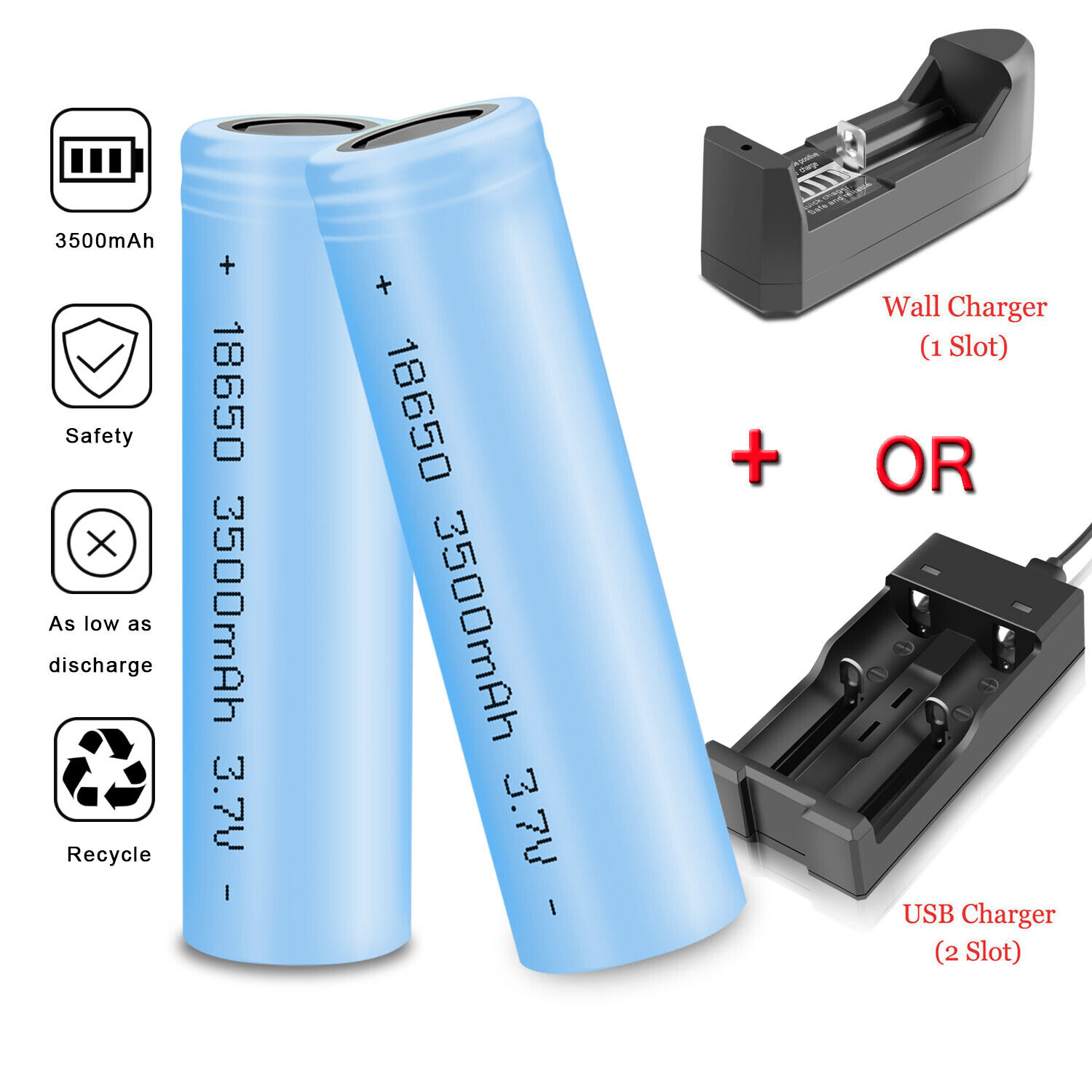 3500mAh 18650 Battery Flashlight Rechargeable Liion Flat Top Batteries Charger