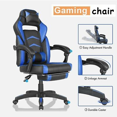 Leather Gaming Chair Ergonomic Racing Recliner Computer Desk Swivel Office Chair