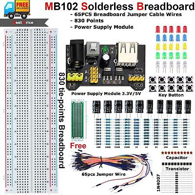 Mb102 Solderless Breadboard Protoboard Kit Set Test Pcb 830 Tie Point For Uno R3