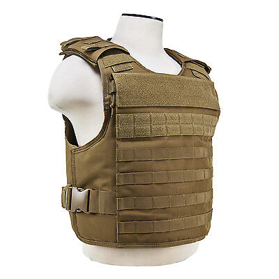 NcStar TAN Plate Carrier External Hard Plate & Internal Soft Plate Pockets M-XXL