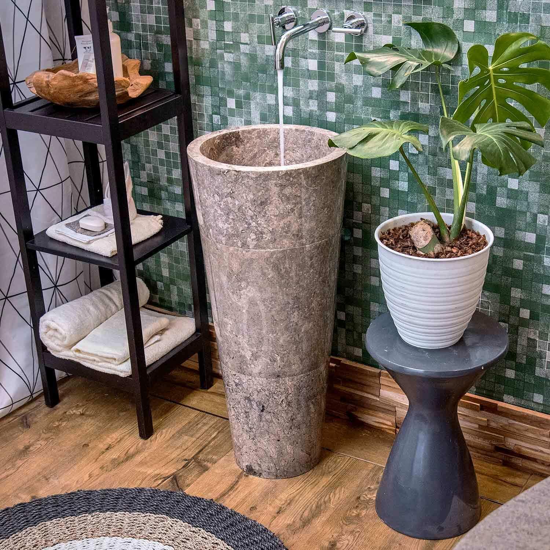 WOHNFREUDEN Marmor Stand-Waschbecken 90 cm rund Waschtisch Säule