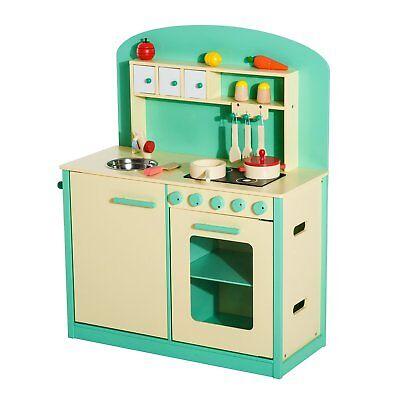 HOMCOM  Cucina Giocattolo per Bambini con Accessori in Legno verde