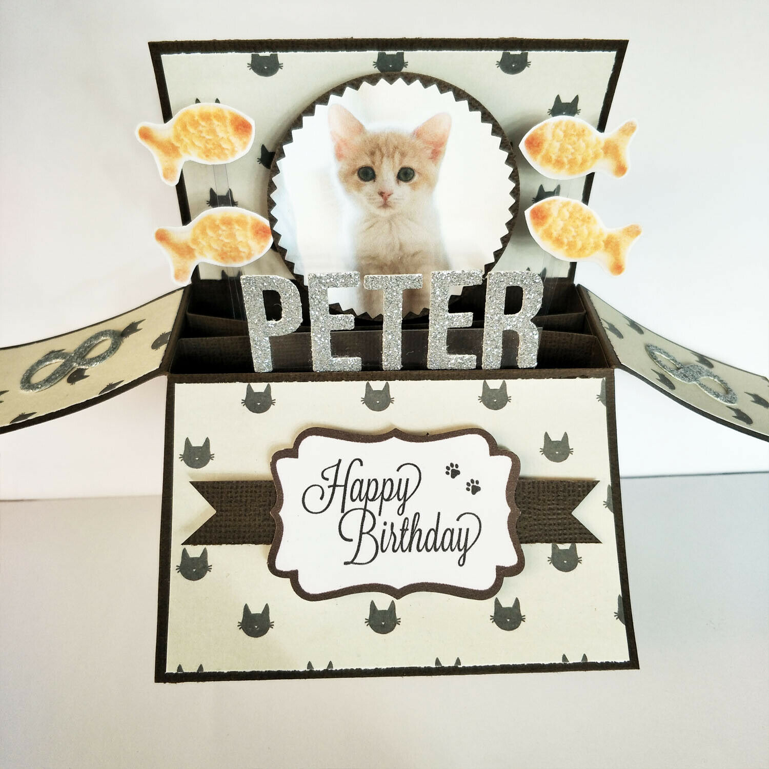 Handmade Name & Age Personalized birthday card pet birthday card cat kitten card