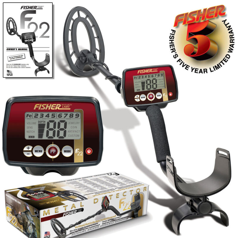 """Fisher F22 Metal Detector with 9"""" Concentric Search Coil and 5 Year Warranty"""
