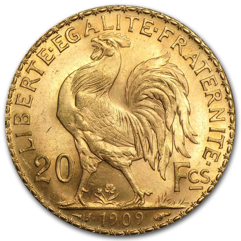 1899-1914 France Gold 20 Francs Rooster Bu