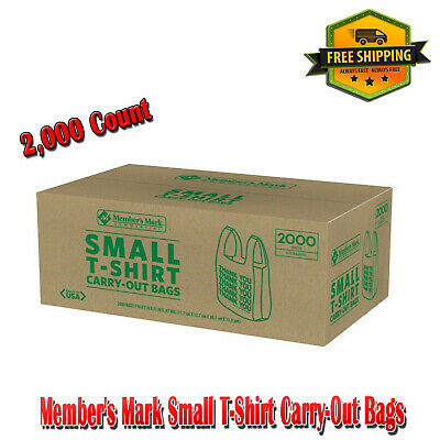 Members Mark Small T-shirt Carry-out Thank You Bags 2000 Count Plastic Tote