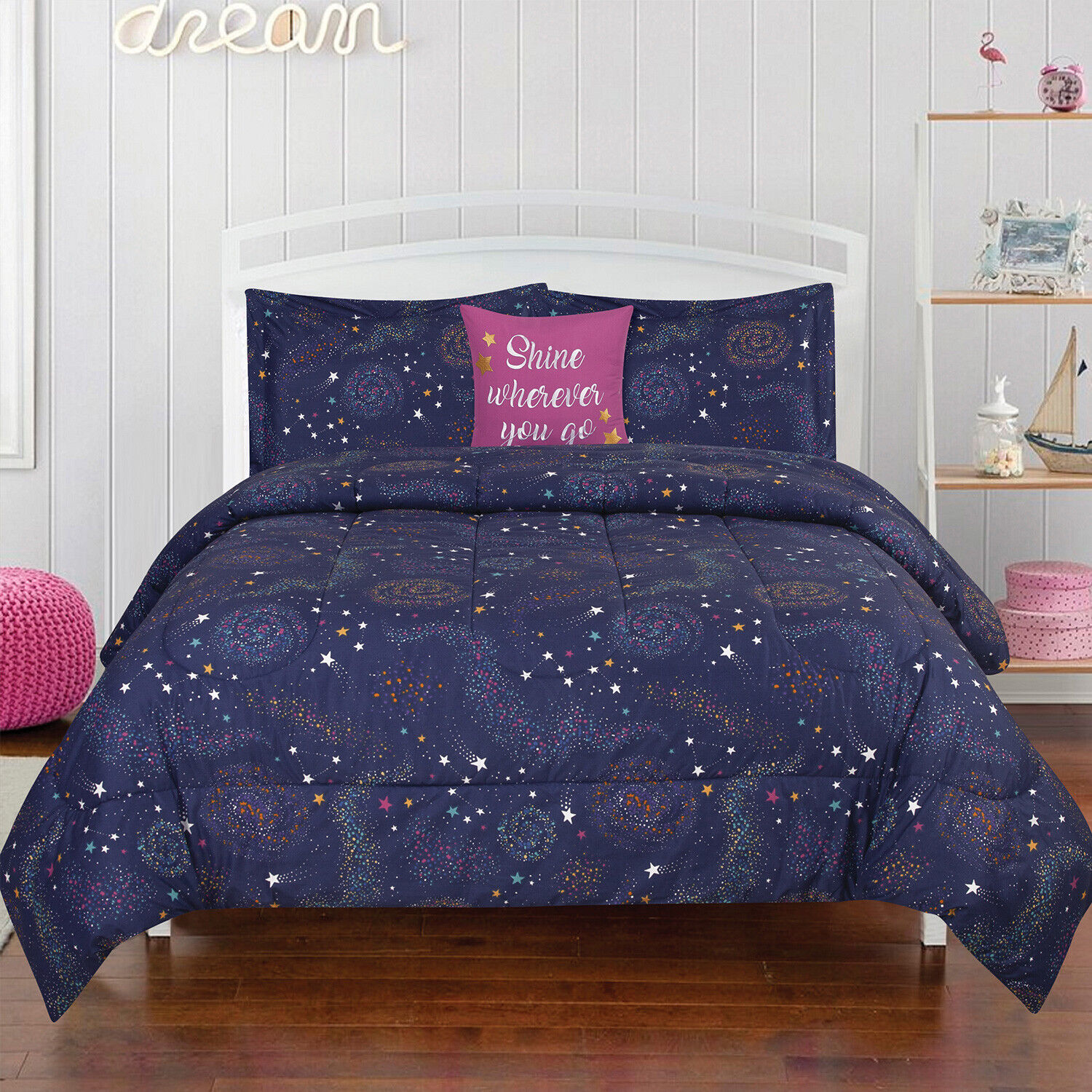 Twin or Full/Queen Outer Space Stars Comforter Bedding Set with Pillow Blue Pink Bedding