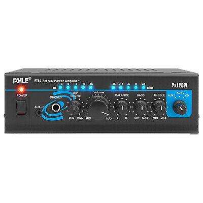 Pyle PTA4 Mini Bluetooth Home Audio 240 Watt 2 Channel Amplifier Stereo Receiver