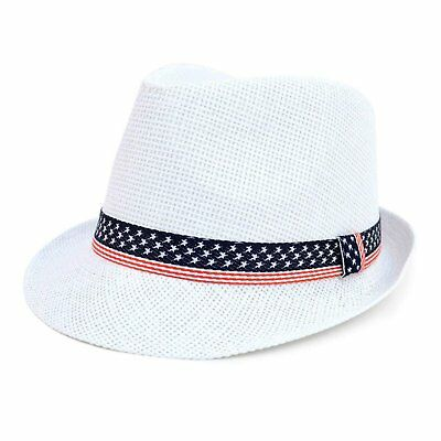 WESTEND Men's Spring/Summer White USA Tribly Fedora Hat (White Fedoras)